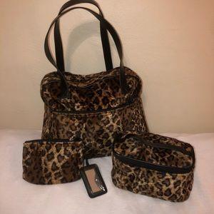 NWOT Fuzzy leopard print 3 pc toiletries bag set